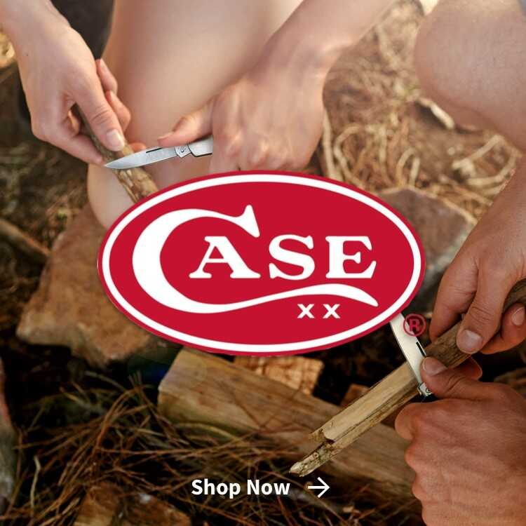 Case Knives with logo and people cutting sticks