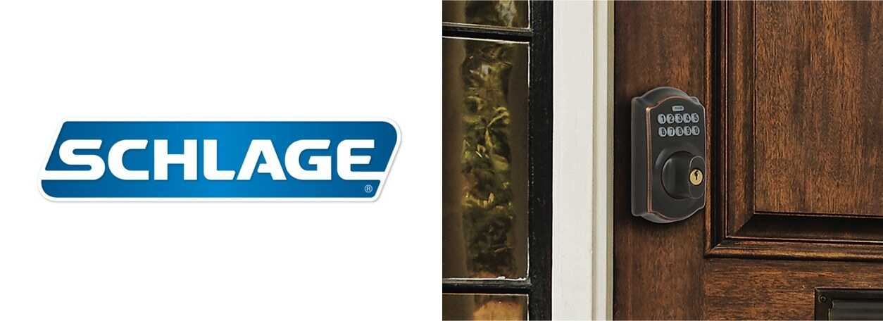 Schlage logo with lock on front wood door