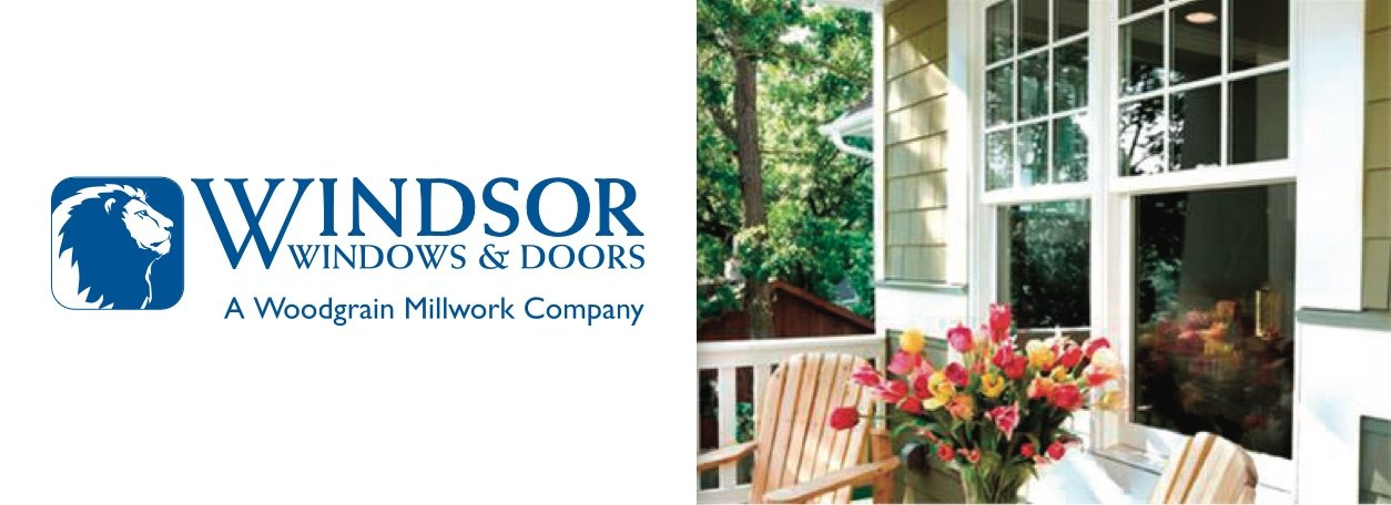 Windsor Windows & Doors logo with white window on front of house