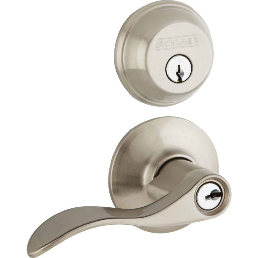 Accent Satin Nickel Single Cylinder Deadbolt & Door Lever Combo Lockset