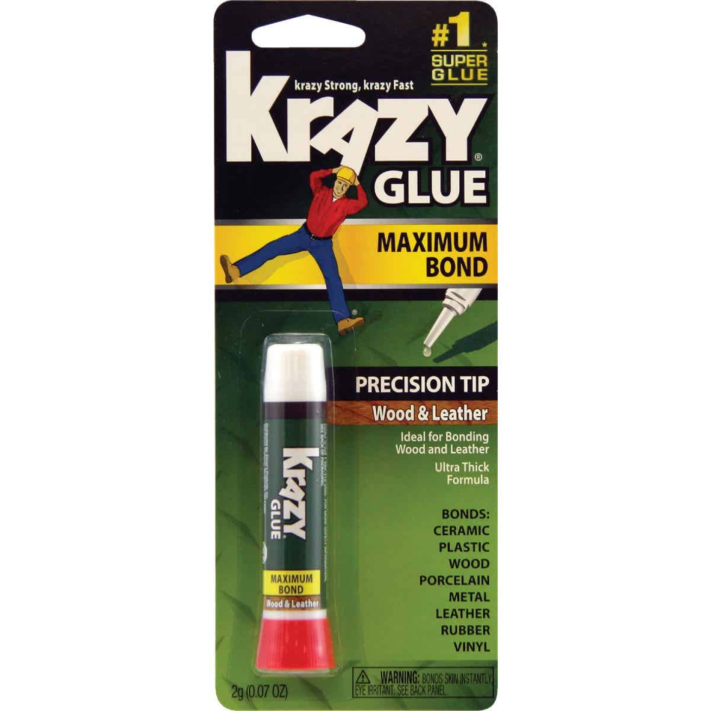Krazy Glue 0.07 Oz. Maximum Bond Wood Leather Super Glue with Precision Tip Image 1
