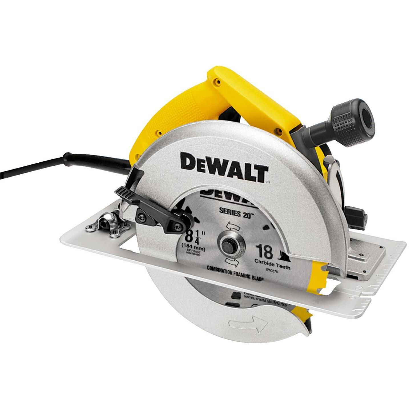 DeWalt 15-Amp 8-1/4 In. Circular Saw with Rear Pivot Depth of Cut Adjustment and Electric Brake Image 1