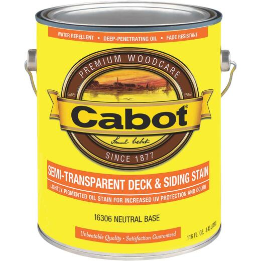 Cabot VOC Semi-Transparent Deck & Siding Exterior Stain, Neutral Base, 1 Gal.