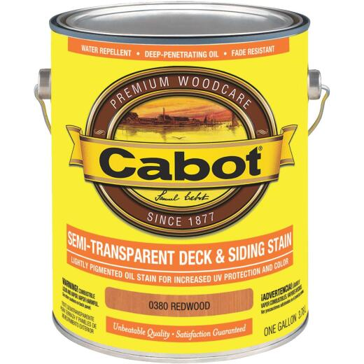 Cabot Semi-Transparent Deck & Siding Exterior Stain, Redwood, 1 Gal.