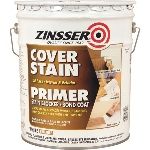 Zinsser Cover-Stain Oil-Base Interior/Exterior Sealer And Stain-Killer Primer, White, 5 Gal.
