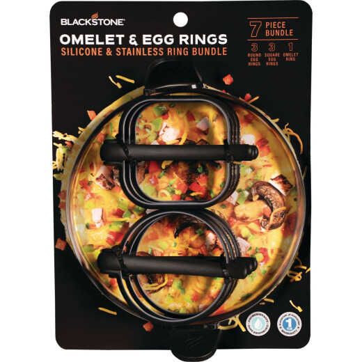 Blackstone Silicone Egg Ring and Stainless Omelet Ring 7-Piece Tool Set